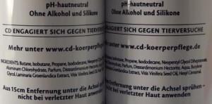 CD Deo silikonfrei Inhaltsstoffe